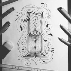 Hand lettering by typo_steve Number Tattoo Fonts, Tattoo Lettering Styles, Chicano Lettering, Graffiti Lettering, Handwritten Typography, Typography Alphabet, Hand Lettering Fonts, Different Lettering Styles, Letras Tattoo