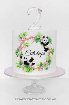 Panda cake Panda Birthday Party, Panda Party, Birthday Cake Girls, Fondant Cake Designs, Fondant Cakes, Cupcake Cakes, Bolo Panda, Single Tier Cake, Panda Cakes