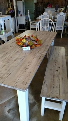 Whitewash farm table....great for a large gathering! #harvesttable #farmtable…