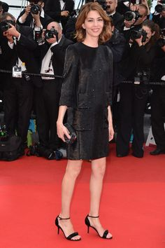 Sofia Coppola on the Cannes Film Festival red carpet 2013 in a Louis Vuitton black sequined gown from Spring/Summer 2013