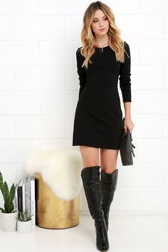 The best dress in your closet this season will definitely be the Perfectly Posh Black Long Sleeve Dress! Knit dress has long sleeves and a A-line silhouette. Trendy Dresses, Nice Dresses, Casual Dresses, Fashion Dresses, Dresses With Sleeves, Sleeve Dresses, Lulu's Dresses, Party Dresses, Perfectly Posh