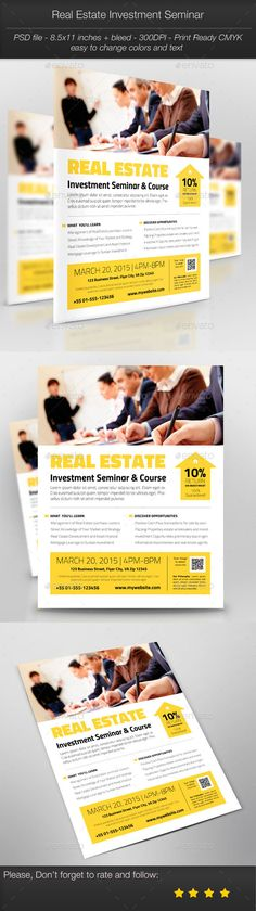 #Business Promotion: #Real #Estate Investment Seminar - #Corporate #Flyers Download here: https://graphicriver.net/item/business-promotion-real-estate-investment-seminar/10484728?ref=alena994