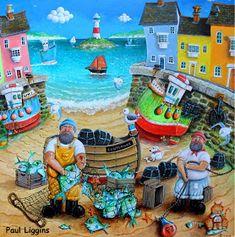 CRUCITA GUTIÉRREZ SEGOVIA: MIS AMIGOS PINTORES - PAUL LIGGINS Beach Color Palettes, Fork Art, Seaside Art, Building Art, Arte Popular, Naive Art, Art Pages, Pebble Art, Art World