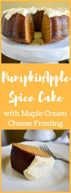 A deliciously moist pumpkin apple spice cake topped with maple cream cheese frosting--all from scratch and perfect for Fall or Thanksgiving dinner. Recipe by Dash of Jazz Healthy Cake Recipes, Dessert Cake Recipes, Delicious Cake Recipes, Best Cake Recipes, Yummy Cakes, Easy Desserts, Yummy Food, Sweets Cake, Yummy Treats