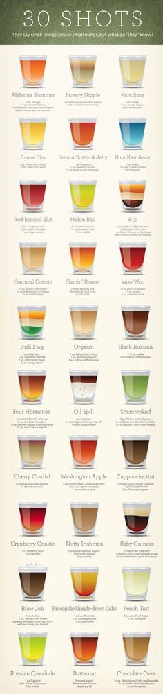How To Make 30 Different Kinds Of Shots In One Handy Infographic. Alcoholic Drinks.: