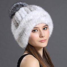 Women's Winter Hats 2016 Knitted Beanie With Fox Fur Ball Women Customized Headgear Hat For Women Casual Female Mink Fur Hats [Affiliate]