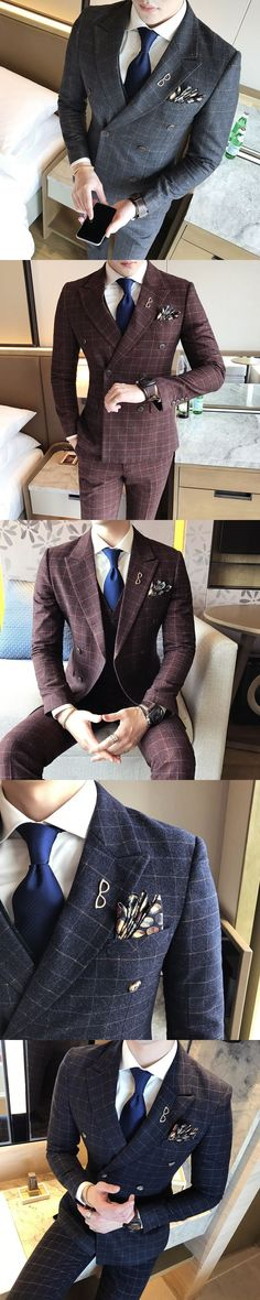 2017 Blue Wedding Suits For Mens Formal Vintage Plaid Suits Classic Mens Cotton Double Breasted Suits Mens Terno Azul Slim Fit #menssuitsvintage #menssuitsfit #menssuitswedding