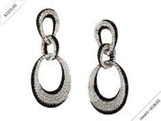 Women's Diamond & Black Diamond Earring in 14K White Gold (1.55 ctw)