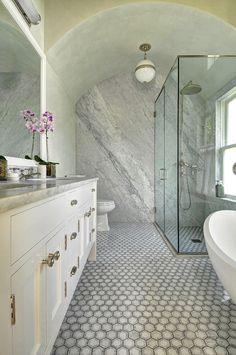 East Hampton Shingle Cottage Bathroom | Hendricks Small Globe Pendant by Ralph Lauren available at circalighting.com Circa Lighting