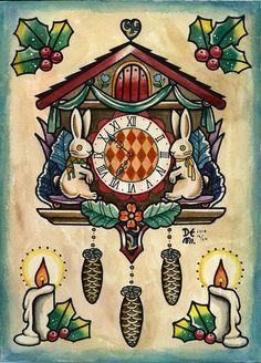 Original tattoo design by DEMI {Kukuclock} water color, tattoo sketch, christmas, cuckoo clock, old school, rabbit,