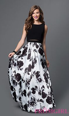 Floral Print Mock Two Piece Dress at PromGirl.com