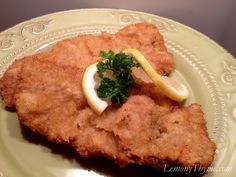 Wienerschnitzel  (Recipe by Wolfgang Puck) Bread Cutlet, Austrian Recipes, German Recipes, Wolfgang Puck Recipes, Oktoberfest Recipes, Wiener Schnitzel, Switzerland, Southern Kitchens, Study, Studio, Investigations, Studying, Research