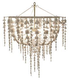 "oly - flowerfall chandelier    cast resin chandelier w/ antiqued white finish    29.5"" diameter x 35.5""H    finish frost white"
