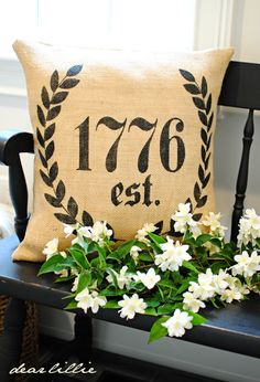 Stencil onto a burlap pillow when your family was established.