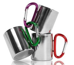 Stainless steel 200 ml camping and travel mug with karabiner clip. Clip this cup to your rucksack or walking gear and take a drink from a flask or natural source without having to unpack your kit. Han