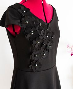 Cocktail Black Dress 50s Dress Formal Gown Delicate Floral Appliques Dress Floral Appliques Dress  Bridesmaid Dress 3D Flowers Black Dress