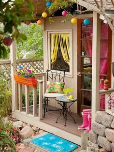 Turn area under deck into a play area for kids-their own play house