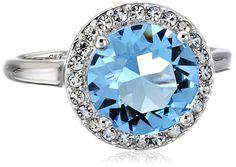 Sterling Silver Swarovski www.teelieturner.com  Aquamarine Crystal and Clear Crystal Round Ring, Size 8 $29.31 #sparkle