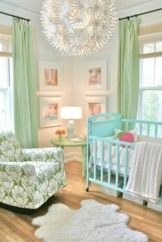 LOVE the shades of blue, turquoise and pastel green.  Shabby chic Nursery / www.studiomorado.blogspot.com