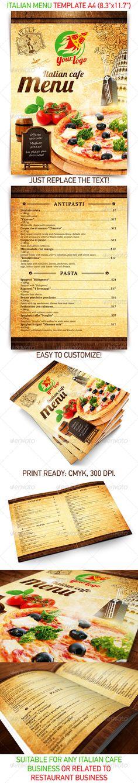 Italian Menu Template - Food Menus Print Templates