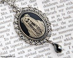 Skull Cameo necklace - Eternal - aged ivory Victorian Gothic 3D skeleton cameo pendent, unisex, psychobilly, horror zombie halloween jewelry. $17.00, via Etsy.