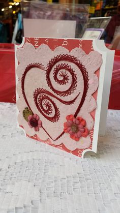 Heart Valentine's day card. Embroidered heart by BarleyCreations, $5.50