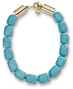 Michael Kors Michael Large Bead Turquoise Necklace