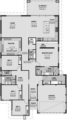 Open Floor House Plans, Home Design Floor Plans, New House Plans, Dream House Plans, Small House Plans, House Layout Plans, House Layouts, Sims House Design, Modern House Design
