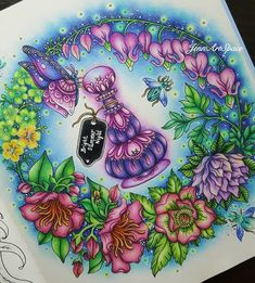 Genie Bottle Butterfly and Flowers. Fantasy Drawings with Vivid Colors and Blends. Click the image, for more art by Jennifer Zreagat. Joanna Basford, Pencil Drawing Tutorials, Pencil Drawings, Hanna Karlzon, Johanna Basford Coloring Book, Caran D'ache, Fantasy Drawings, Colouring Techniques, Polychromos