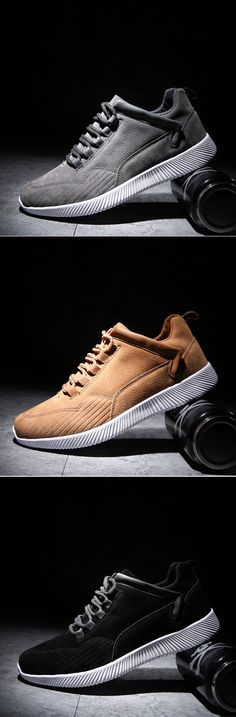Men Leather Wearable Resistant Lace Up Breathable Casual Shoes