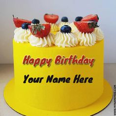 Write Name On Yellow Fruit Cake For Birthday Wishes.Print Name on Designer Double Layer Cake.Multipurpose Cake For HBD Name Wishes Online. Birthday Cake Write Name, Birthday Cake Greetings, Birthday Cake Writing, First Birthday Themes, Cake Name, Cake Images, Cake Pictures, Double Layer Cake, Happy Birthday Wishes Cake