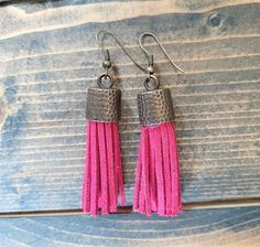 Dark pink leather tassel earrings - brass metal capped tassel earrings - leather tassel jewelry - dark pink boho dangling tassel earrings