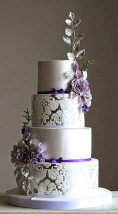 Purple and silver #wedding cake | bellethemagazine.com
