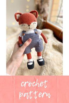 Fox Pattern, Plush Pattern, Crochet Doll Pattern, Crochet Patterns Amigurumi, Crochet Animal Amigurumi, Crochet Fox, Crochet Animals, Crochet For Kids, Crochet Ideas