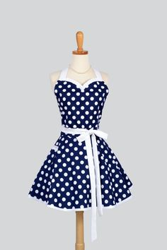 Sweetheart Retro Apron - Retro Sexy Womens Apron Navy Blue and White Nautical Polka Dot Cute Full Kitchen Apron by CreativeChics on Etsy https://www.etsy.com/listing/188236252/sweetheart-retro-apron-retro-sexy-womens