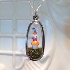 Garden Gnome with orange mushroom Terrarium by WorkofWhimsy Painted Paper, Hand Painted, Orange Mushroom, Terrarium Necklace, Gnome Garden, Paper Clay, Perfect Christmas Gifts, Gnomes, Birthday Gifts