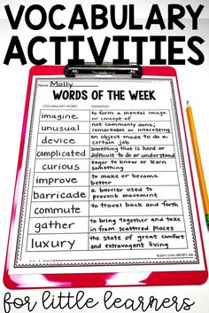 At the beginning of the week we take two days to introduce all of our new vocabulary words for the week. When the words are introduced the teacher shows the word and a picture to match the word. The students take turns guessing what the word means{. List Of Vocabulary Words, Vocabulary Journal, Vocabulary Instruction, Vocabulary Building, Vocabulary Worksheets, Vocabulary Activities, Spelling Activities, Listening Activities, How To Teach Vocabulary