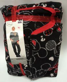 Disney Mickey Mouse Adult Footed Pajamas Cozy Stretch Fleece Size XXL One-Piece
