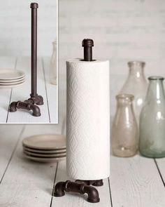Industrial Tabletop Paper Towel Holder x x Made of cast metal pipe CTW Kitchen Kitchen Tools Farmhouse Paper Towel Holders, Industrial Paper Towel Holders, Paper Towel Holder Kitchen, Industrial Tabletop, Farmhouse Kitchen Decor, Industrial Farmhouse, Industrial Pipe, Farmhouse Style, Modern Industrial