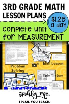 With this valuable resource, you can plan less and have more free time! Here is the Measurement teaching unit, which includes:learning targets, worksheets, whole class activities, mini-lessons, games, intervention, & closure. You can't beat $1.25 a day for this! For more units, and others like it, check out ipohlyinc.com! #area, #perimeter, #customary, #metric, #measurement, #activities, #worksheet, #capacityandweight, #3rdgrade, #problemsolving Problem Solving Activities, Measurement Activities, Class Activities, Math Games, Teacher Resources, Math Lesson Plans, Math Lessons, 3rd Grade Math Worksheets, Learning Targets
