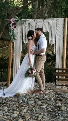 Gorgeous macrame wedding arch fir hire by Light It Up Event Hire Byron Bay