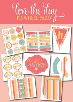 pinwheel party printable pack...these colors make me happy!  {Love the Day}