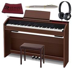 Casio PX860 BN Privia Digital Piano With 4 Leg Matching Bench   Yamaha Stereo Headphone Home Bundle, Brown -- Read more reviews of the product by visiting the link on the image.