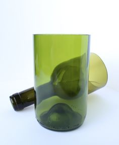Beer and Wine bottles transformed into Glassware in glass  with Wine Upcycled Glass Ecofriendly Beer