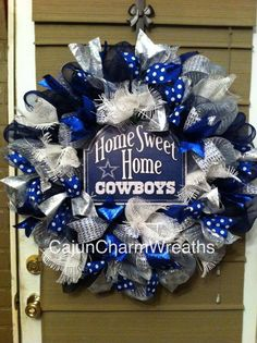 Ribbon Dallas Cowboys wreath, I'm going to use Seahawk's colors!