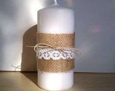 Hessian with Lace and Twine candles Burlap Wedding Favors, Hessian Wedding, Rustic Wedding, Wedding Table, Wedding Ideas, Burlap Candles, Pillar Candles, Hessian Crafts, Christmas Crafts