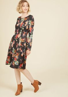 Get the Fox Straight A-Line Dress | Mod Retro Vintage Dresses | ModCloth.com  In this black dress, you're certain your ensemble portrays your character perfectly! Tailored with princess seams and pockets, and boasting a show-stopping print of tan, green, red, and orange woodland creatures, this ModCloth-exclusive frock offers the world a heightened understanding of your personal style.