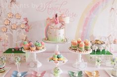 Dessert table at a Pastel Rainbow Fairy Party #pastel #fairy