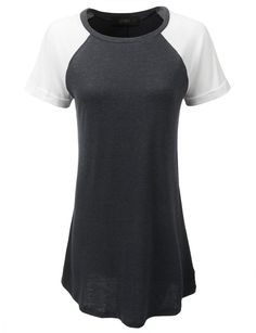LE3NO Womens Ultrasoft Loose Fitted Short Sleeve Varsity Dress