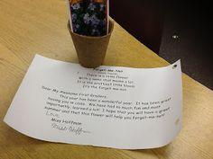 Forget-me-not poem & seeds gift for pupils